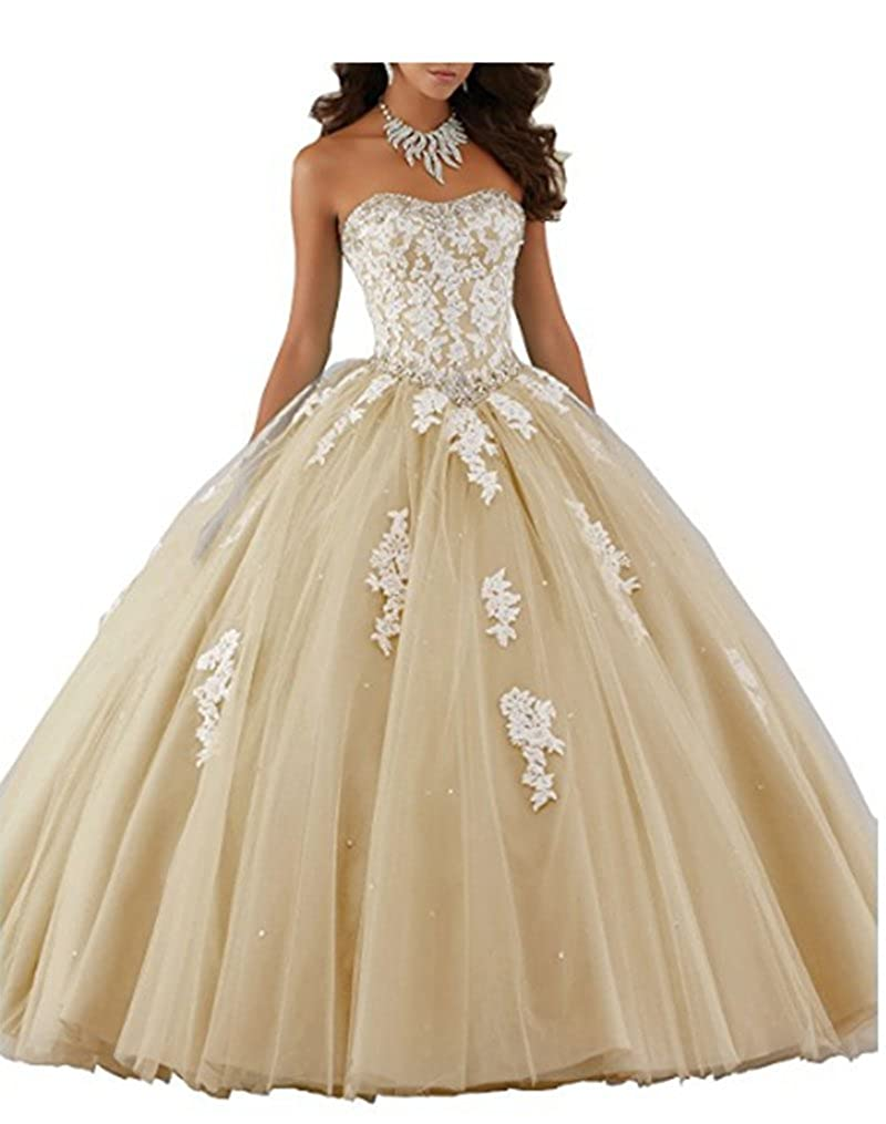 Style1champagne ANGELA Women's Ball Gown Organza Quinceanera Dresses Prom Gowns