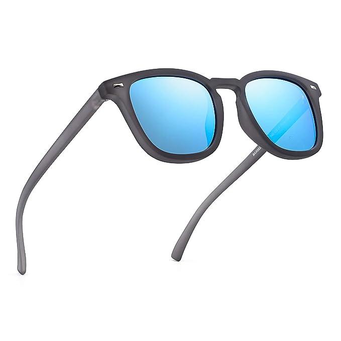 5c6d0eb4c6 JIM HALO Gafas de Sol Polarizadas de Espejo Retro Clásico Cuadrado Conducir Anteojos  Hombre Mujer(