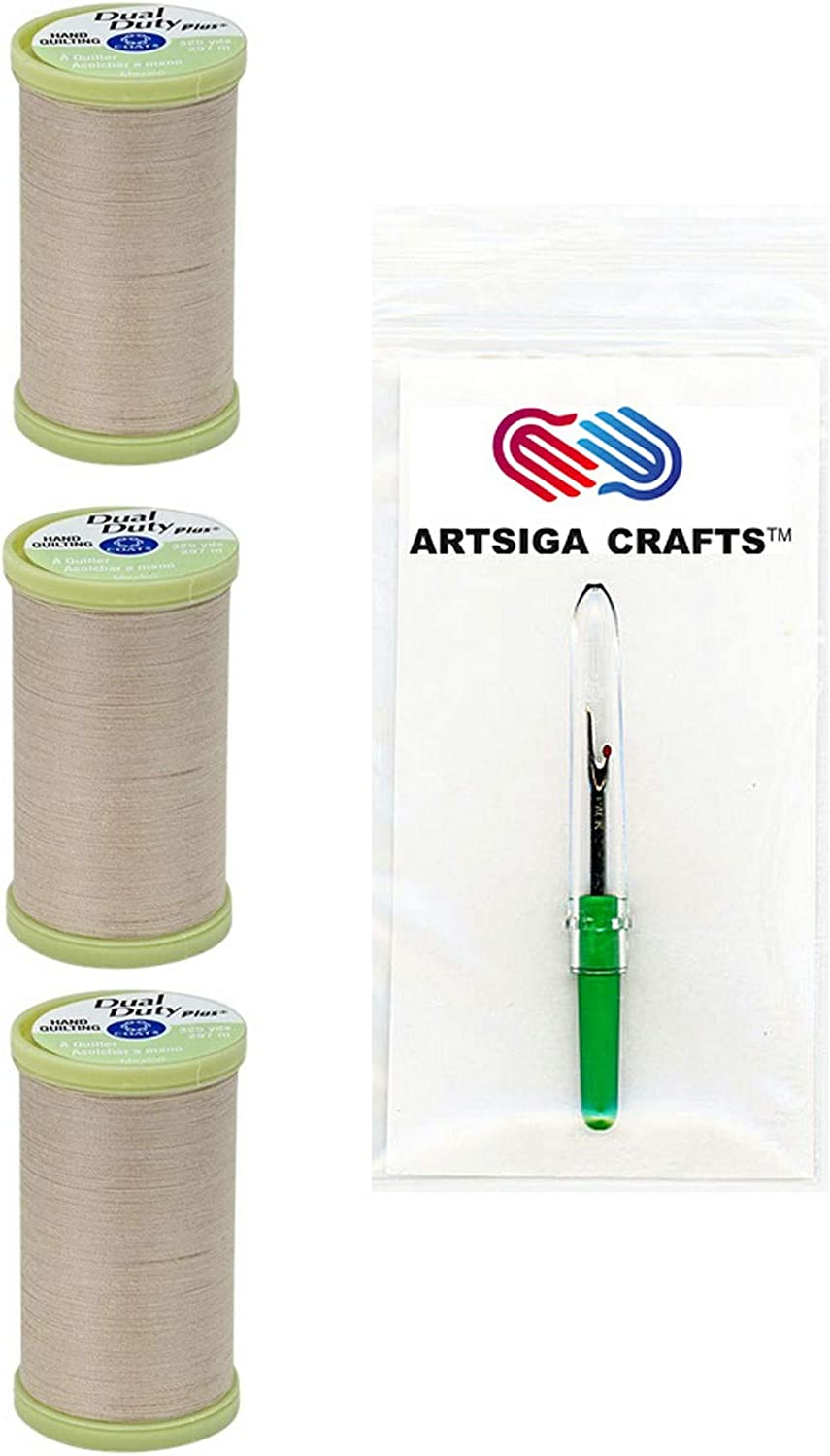 Ecru Bundle with 1 Artsiga Crafts Seam Ripper S960-8030-3P Coats /& Clark Sewing Thread Dual Duty Plus Hand Quilting Cotton Thread 325 Yards 3-Pack