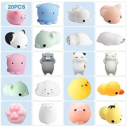 Kawaii Squishies Animals Set de 20 piezas de peluches de peluche de liberación suave y esponjosa