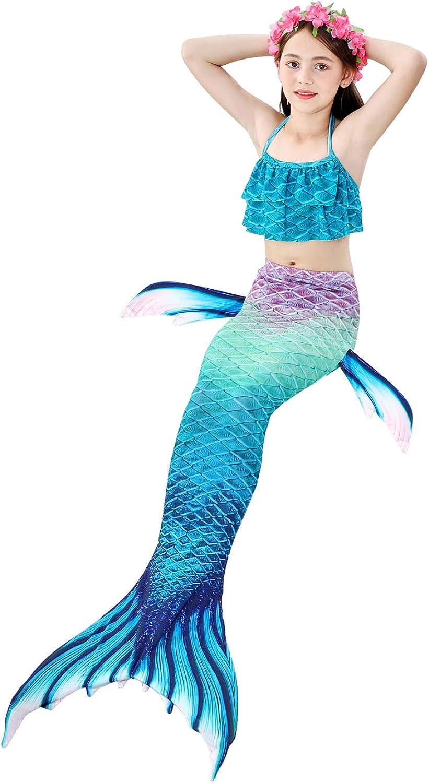Le SSara 2018 Nuove Ragazze Mermaid Code Bikini Costume da Bagno Set 4 Pezzi Costumi da Bagno con Pinna per Nuotare Partito Cosplay Gb01-pink