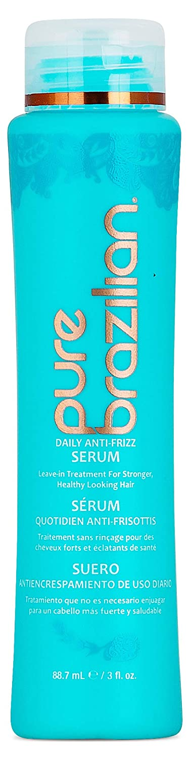 PURE BRAZILIAN Anti-frizz Daily Leave-in Serum - Strengthening Hair Treatment Formulated to Fortify and Protect Your Hair From Heat & UVA/UVB (13.5 Ounce / 400 Milliliter)