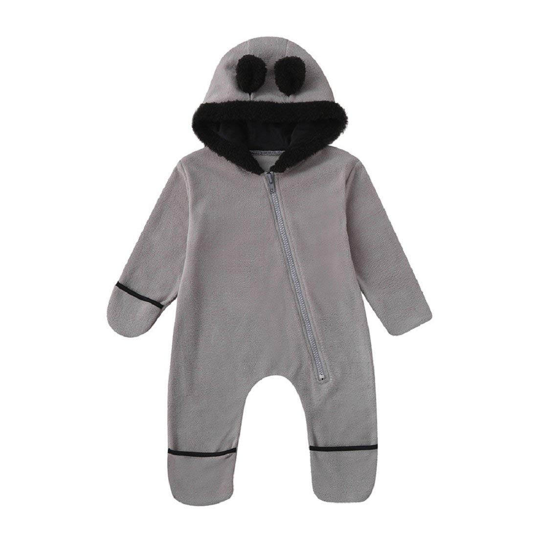Infant Pyjamas Winter Solid Cartoon Ears Dungarees Outfit YEBIRAL Fleece Baby Hooded Romper Jumpsuit