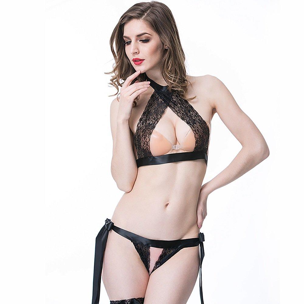 RXL underwear Atractiva Ropa Interior Extremadamente tentadora Tease Apasionado Traje de Encaje Nightdress Erógeno (Color : Negro, Tamaño : Metro): ...