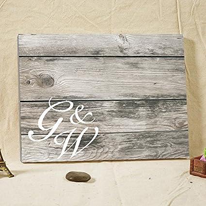 Amazon.com: Vintage Wedding Guest Book Canvas Wood Wedding Guest ...