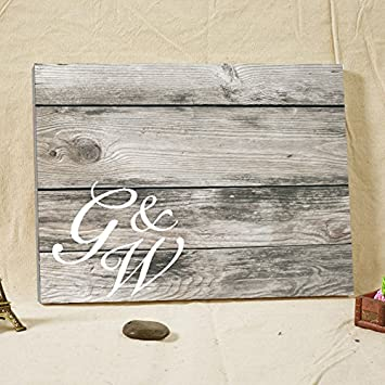 Vintage Wedding Guest Book Canvas Wood Wooden For Couples Custom