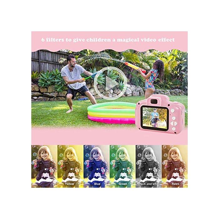 ❀【Video de 8MP y 1080P】 Pantalla IPS mejorada de 2.0 pulgadas recargable, esta cámara para niños viene con 8 mega pixeles incorporados en un lente poderoso frontal y posterior,en comparación con otras cámaras para niños, tiene una calidad de fotografía mucho superior. La cámara de video de juguete graba videos de hasta 1920x1080p, los niños pueden grabar cada uno de sus momentos felices en cualquier momento. ❀【Diseño a Prueba de Golpes y Material Ecológica】La cámara para niños en miniatura utiliza un diseño ecológico, no tóxico y atractivo, pequeño y liviano, muy fácil de transportar. El cordón desmontable les permite a sus hijos jugar con la cámara en cualquier momento, no solo para que aprendan a tomar fotografías, sino para capturar sus momentos felices, permitiendo que usted y sus hijos tengan una relación más cercana. ❀【Múltiples Funciones, más Diversión para los Niños】Viene con más funciones, captura de fotos, grabación de video, juegos, temporizador, zoom digital 3X, enfoque automático, etc. 6 efectos de filtro diferentes, 28 efectos de marco de fotos incorporados, aprovechando al máximo su creatividad e imaginación para hacer realidad el sueño de un pequeño fotógrafo.