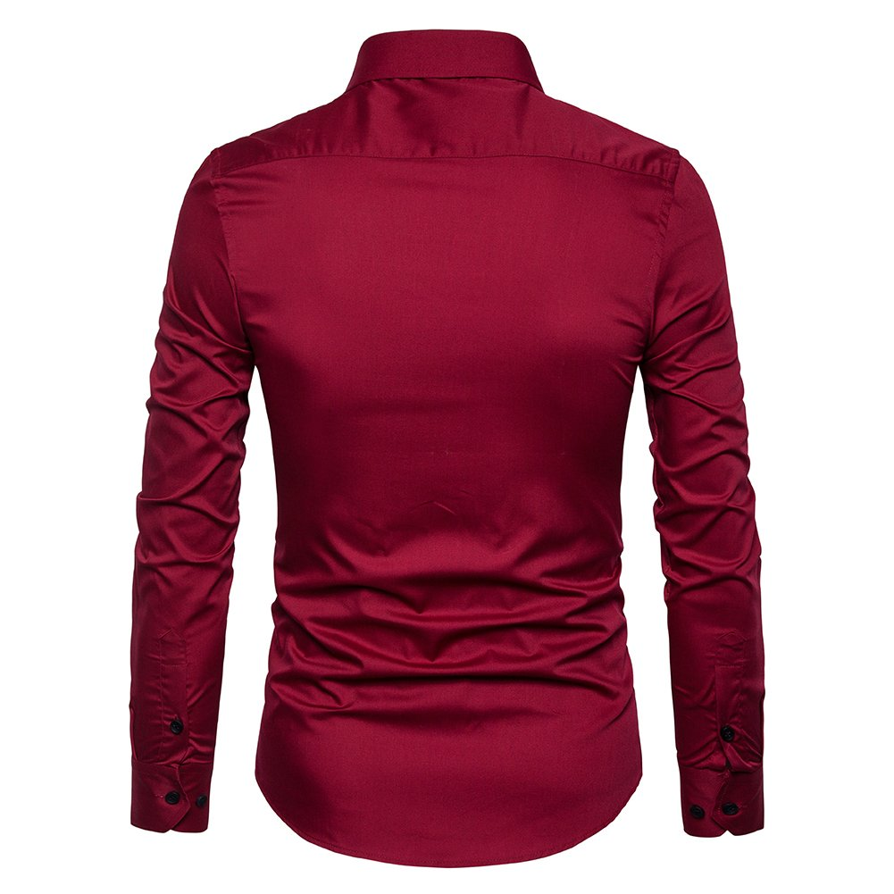 Manwan walk Men's Slim Fit Business Casual Cotton Long Sleeves Solid Button Down Dress Shirts (Large, Wine red) by Manwan walk (Image #3)
