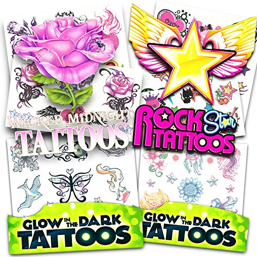 Glow in the Dark Temporary Tattoos for Girls Party Pack ~ Over 50 Tattoos featuring Butterflies, Flowers, More! -