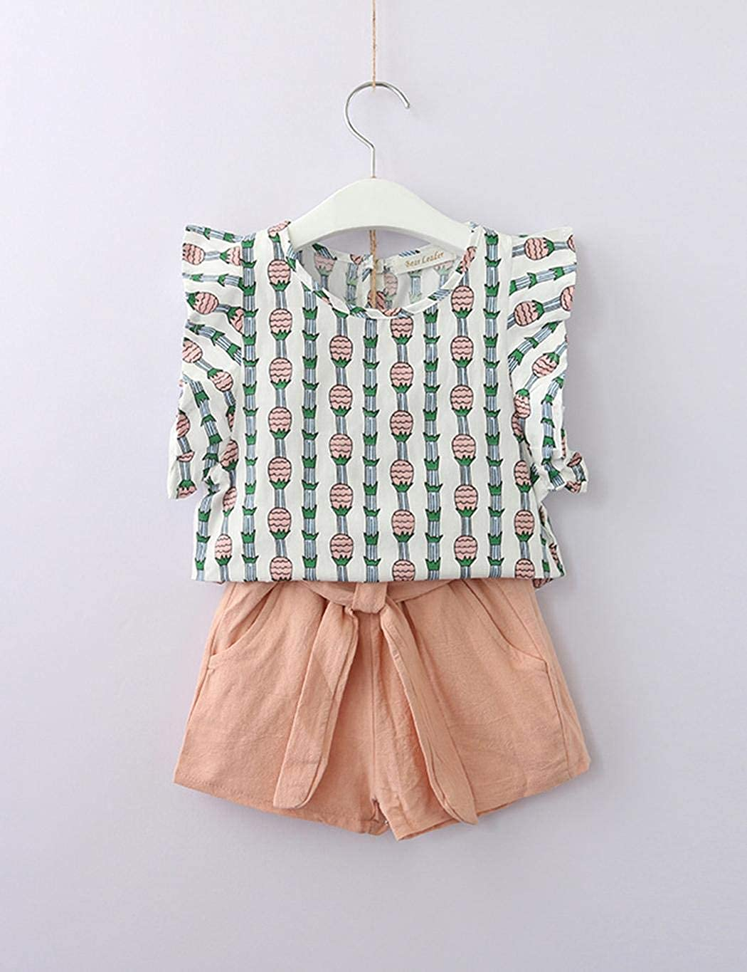 GoodKE Girl Casual O-Neck Sleeveless Print Top and Shorts Two-Piece Set Short Sets