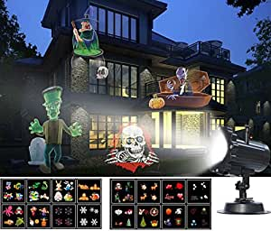 [Halloween Slide Show] GroGou Film LED Projector Lights Moving Rotating Landscape Lamp with 16 Pattern Lens for Halloween (2) ,Christmas (5) Other Holiday/Celebrations (9)