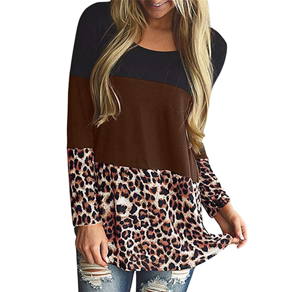 Women Maternity Clothes Long Sleeve Nursing Tops T-Shirt Leopard Striped Plaid Breastfeeding Blouse (L, Coffee) by BCDshop_Maternity Clothes Clearance