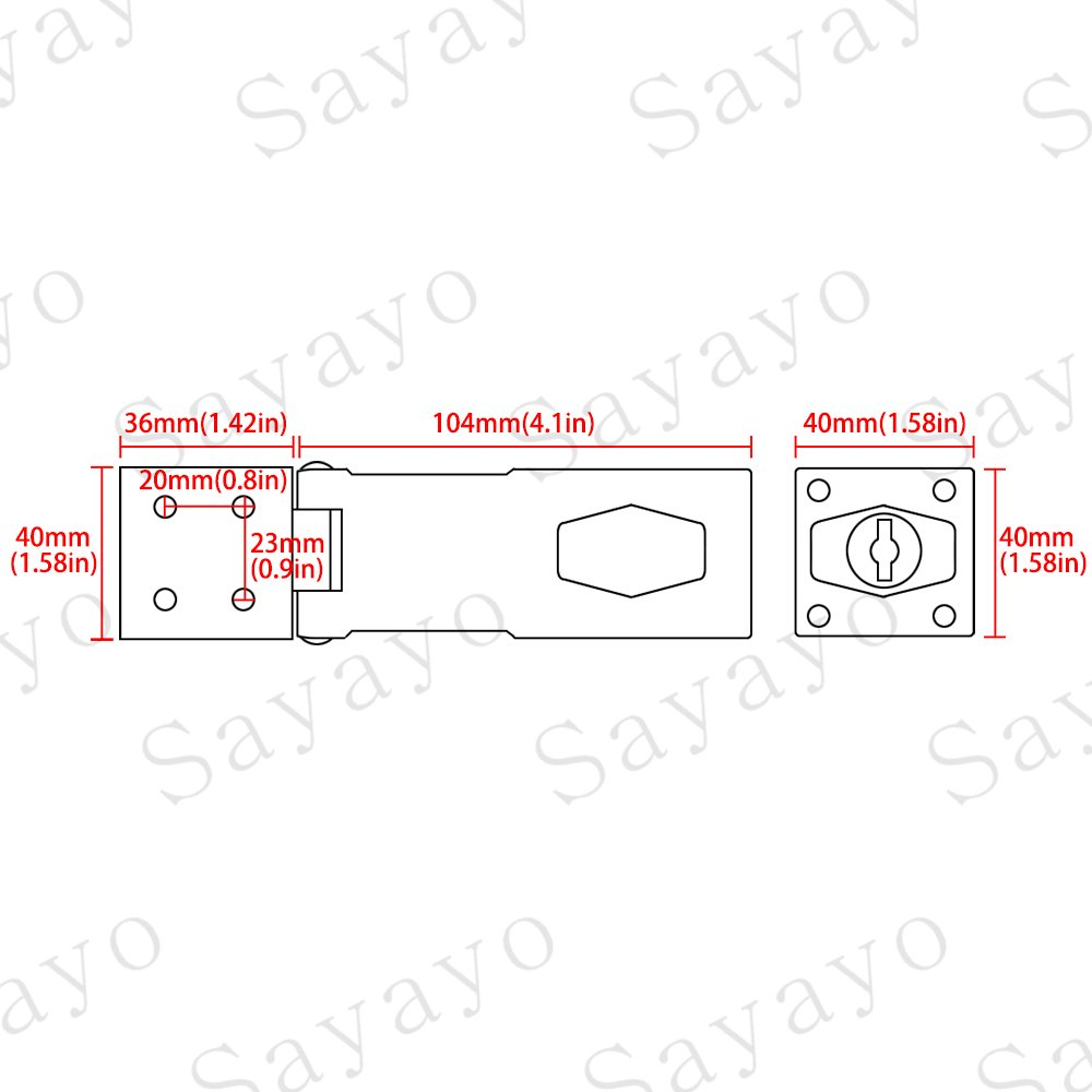 2 Schl/üssel inklusive Sayayo EMS1100C-4 Schnappschloss 10,1 cm silber aus Edelstahl verchromt