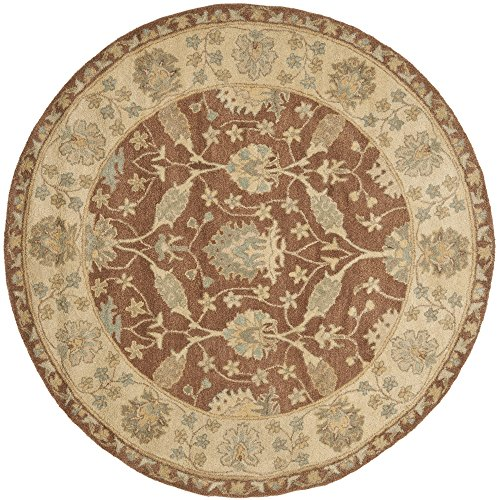Brown Rug Round Oriental (Safavieh Antiquities Collection AT315A Handmade Traditional Oriental Brown and Taupe Wool Round Area Rug (6' Diameter))