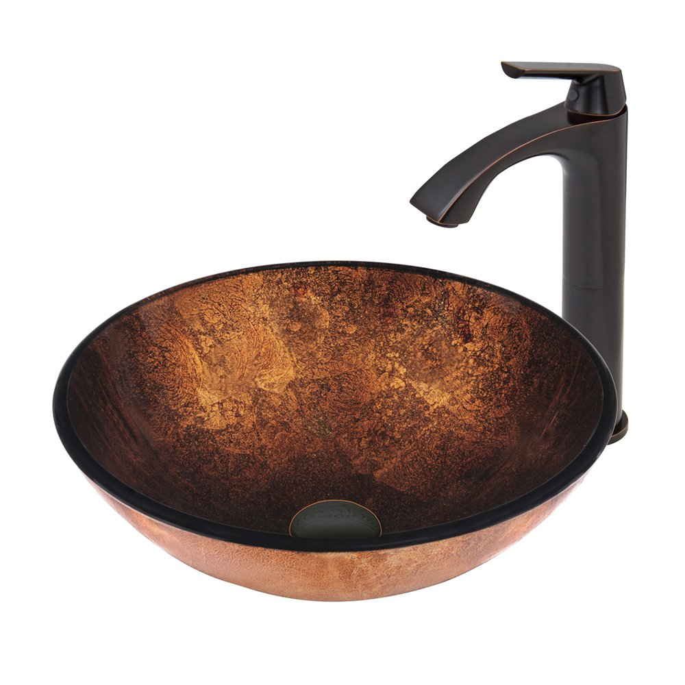 VIGO Russet Glass Vessel Bathroom Sink and Linus Vessel Faucet with Pop Up, Antique Rubbed Bronze by Vigo