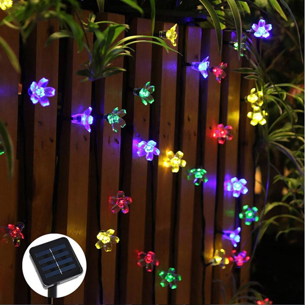 Gold Happy Flower light Solar LED fairy string light 7M 50 led fairy light Christmas light garland battery power garden decor