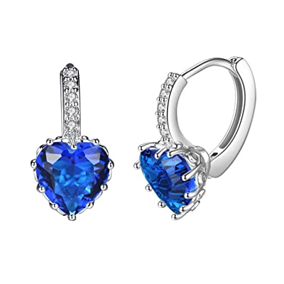 Gahrchian Rhinestones Earrings Stud Swarovski Crystal Pendant Earrings Stud for Women and Girls Gift Jewelry (Blue): Clothing