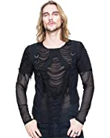 8a20226b22d2c Devil Fashion Steampunk Stitching Holes Short Sleeves Men Gothic Long  Sleeve T-Shirt Blouse Casual