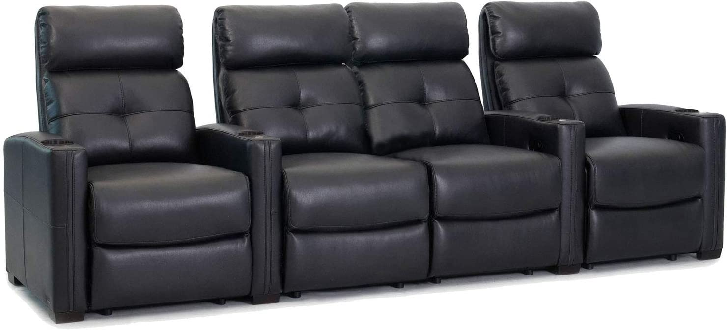 Amazon Com Cloud Xs850 Octane Seating Home Theater Chairs Black Bonded Leather Manual Recline Row 4 Seats With Center Loveseat Space Saving Design Kitchen Dining