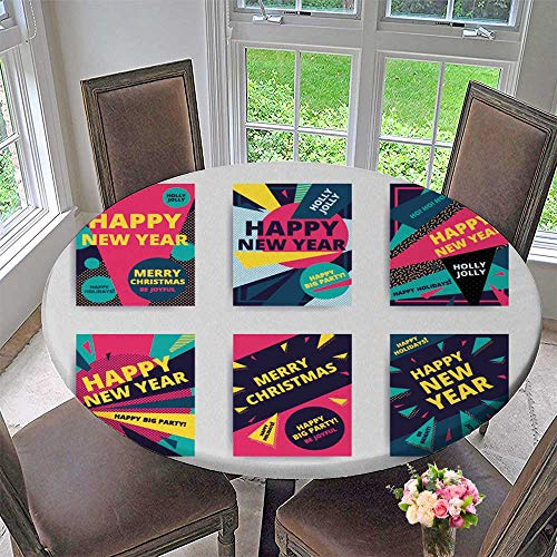 PINAFORE HOME The Round Table Cloth Merry New Year Design Eye Catch Banner Template Bright Vector s for Birthday Party, Graduation Party 55