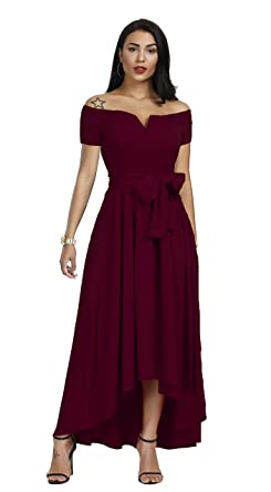 ec63115240dc Image Unavailable. Image not available for. Color: Annystore Women's Elegant  Off Shoulder Solid Color Short Sleeve Formal Party High Low Maxi Dress with