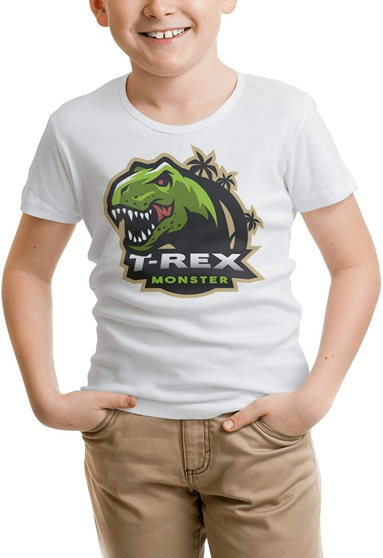Cartoon Triceratops Dinosaur Fossil White Little Boys Tee Shirts Cotton Slim Fit Short Sleeve