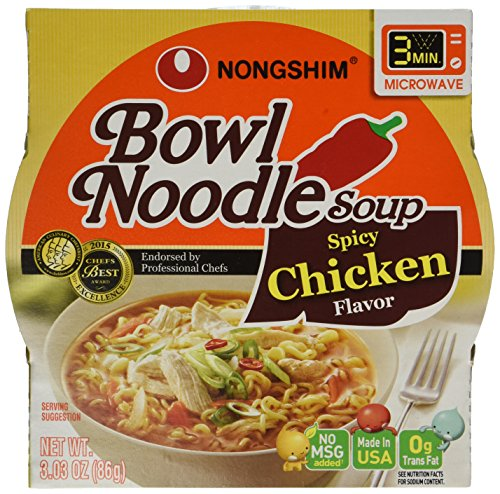 Nongshim Bowl Noodle Soup, Spicy Chicken, 3.03 Ounce (Pack of (Noodle Bowl)