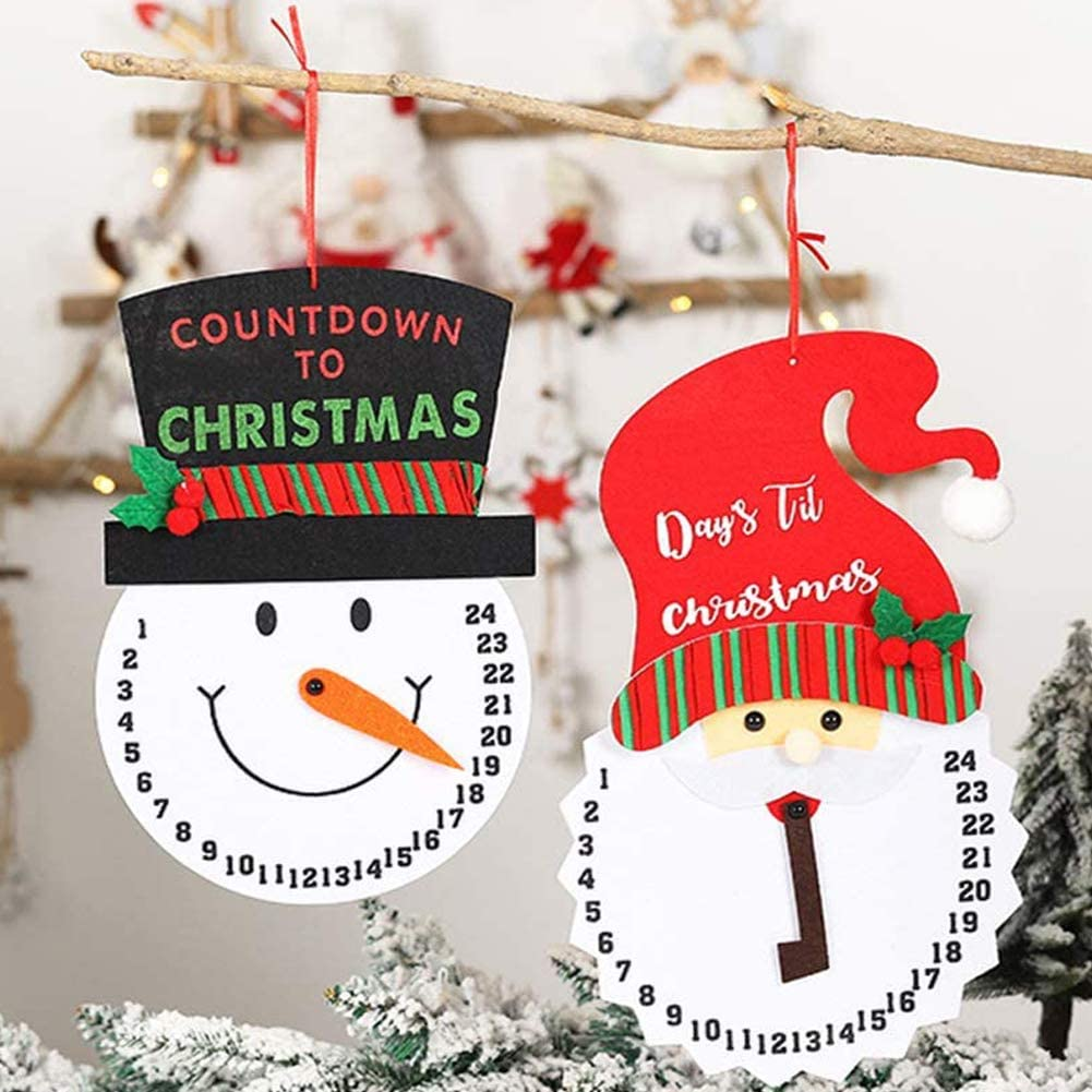 BAEONY 2 Pack Snowman Advent Calendar, Days Until Christmas Countdown Indoor/Outdoor Hanging Sign for Christmas Decoration, Home Decor, Party Supplies