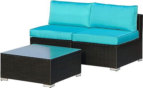 SUNVIVI OUTDOOR 3 Piece Patio Wicker Furniture Set