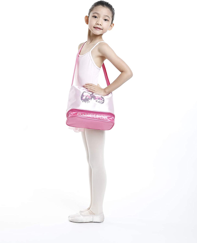 DANCEYOU Bolsa de Ballet Danza Deportes para Ni/ña Tote Bolsa de sat/én Personalizada Bordada Princesa Ni/ña Infantil