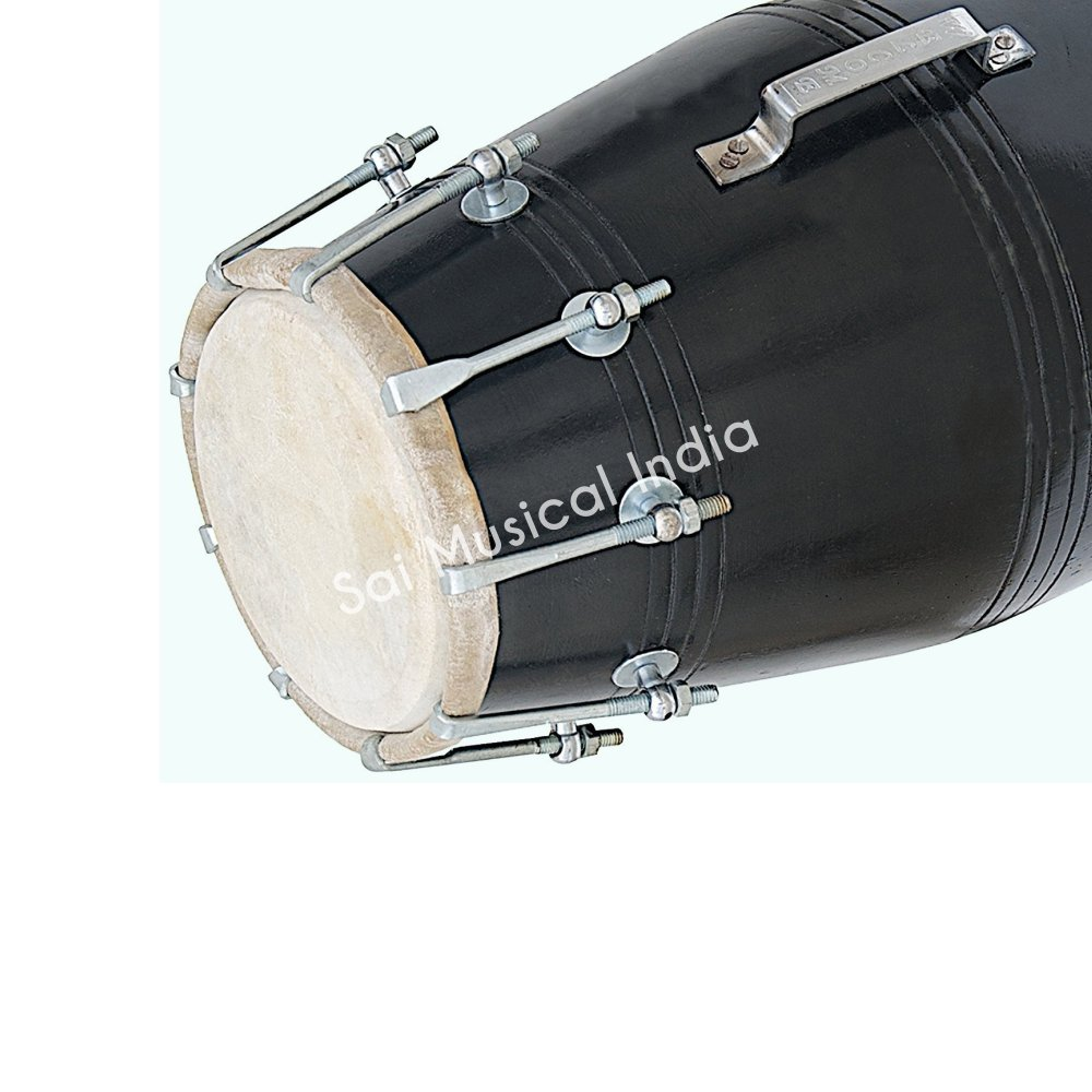 Queen Brass Black Dholak (Dholki), Mango Wood, Bolt-tuned, with Tuning Spanner AWUSAMI 053