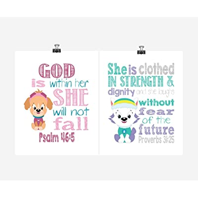 Paw Patrol Inspirational Nursery Art Set of 2 Prints - Everest and Skye - Playroom or Kid's Room - Multiple Sizes: Handmade