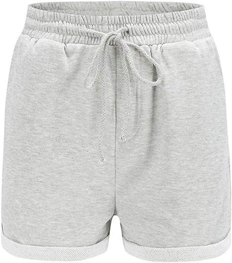 DKXLW Pantalones Cortos De Mujer,Verano Gris Cortos para Las ...