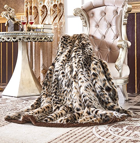 Lindsey Home Fashion Faux Fur Throw, Blankets for Bed Super Soft Fiber, Mink, Wolf, Bear, Coyote, 60
