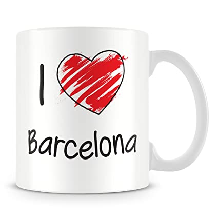 I Love Barcelona taza personalizada (cualquier nombre, con texto en inglés, diseño de