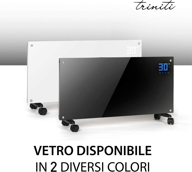 Triniti - Panel termoconvector, calefacción eléctrica, radiador de cristal de convección 1000-2000 W, pantalla táctil, mando a distancia 2 ajustes, montaje en pared cristal negro