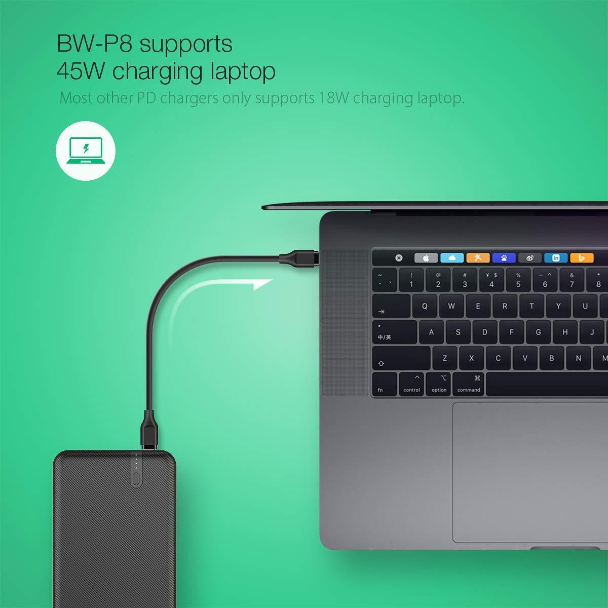 Samsung Xiaomi Huawei BlitzWolf Bater/ía Externa 20000mAh Macbook y Ordenador Port/átil iPad 45W QC3.0 PD3.0 Power Bank Dual USB y Tipo C Cargador Port/átil Carga R/ápida para iPhone