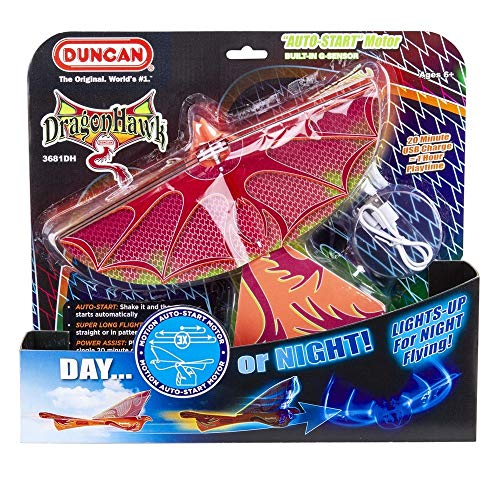 (Dragon Hawk Glider with Power Assist -Auto Start - Lights Up for Night Flying!)