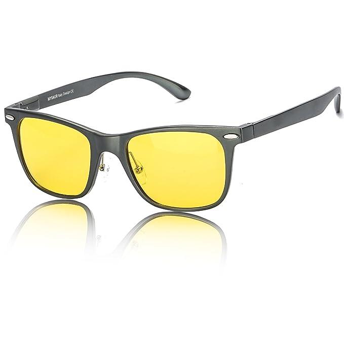 HD Gafas de Visión para Conduccion Nocturna Hombre Mujer Polarizadas Lente Amarilla Anti Reflectante Ultraligero Metal… k1ckkcdg