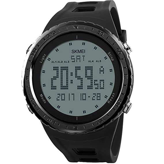 Lige – Reloj digital para hombre con hora dual alarma función de cuenta atrás, deportes