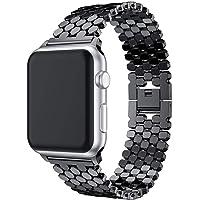 Sunbona 38mm Bracelet Strap for iwatch Apple Watch Series 1/2, Stainless Steel Fish-Scale Pattern Durable Sports Bracelet Replacement Wristwatch Bands Men Women Gift (Black)