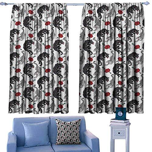 (Mannwarehouse Romantic Privacy Curtain Wild Cats Passion Theme Lovers Valentines Rose Petals Arrows Eros Suitable for Bedroom Living Room Study, etc.72 Wx63 L Black Pale Grey Vermilion)