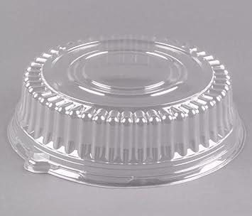 Bandeja redonda de plástico para catering BAAJ: tapa de cúpula, 45,7 cm