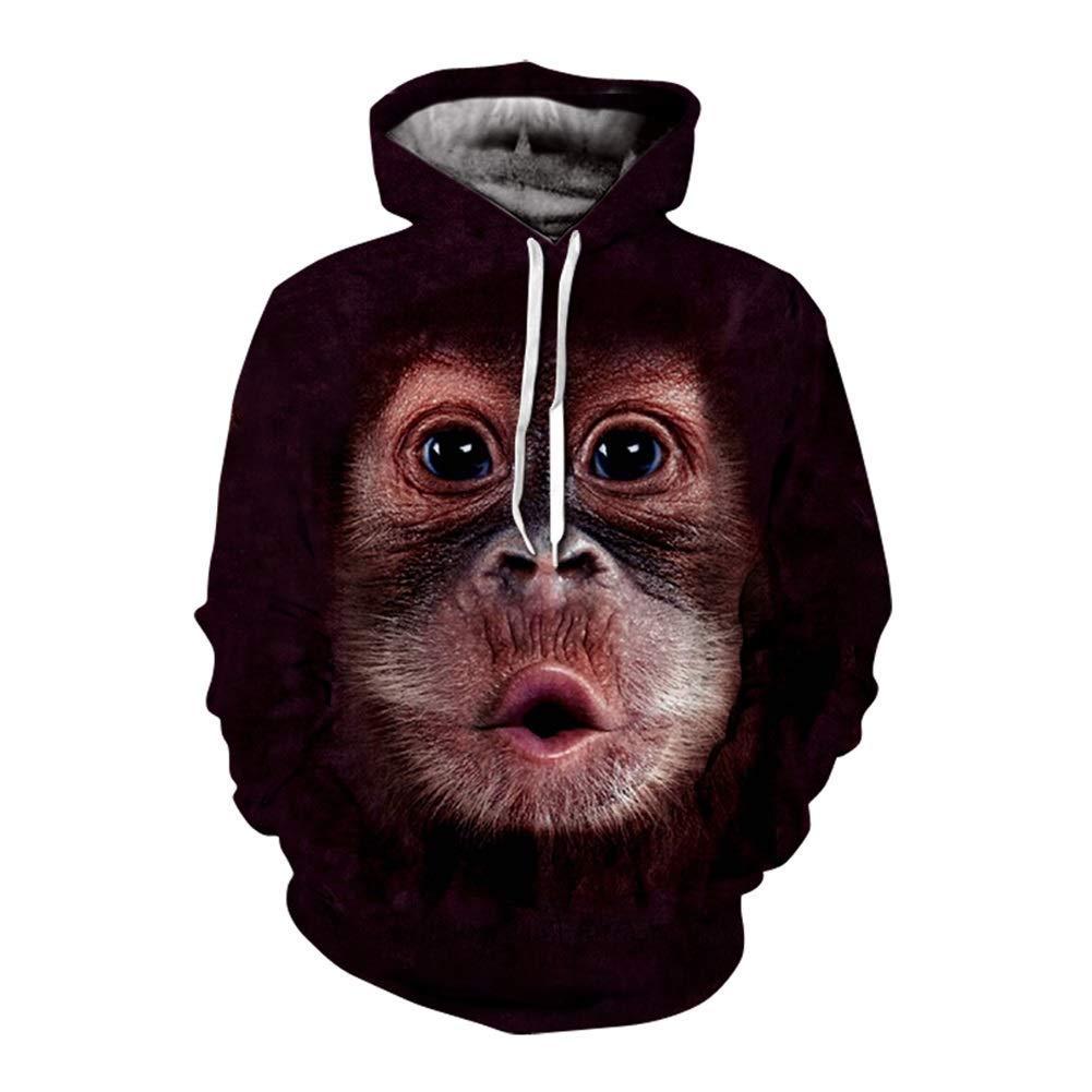FuweiEncore Männer Sweatshirt, 3D Tier Hoodies Männer Frauen Mode Pullover Lustige Trainingsanzüge Streetwear Tops (Farbe   1, Größe   XXXL) (Farbe   1, Größe   XXXL)