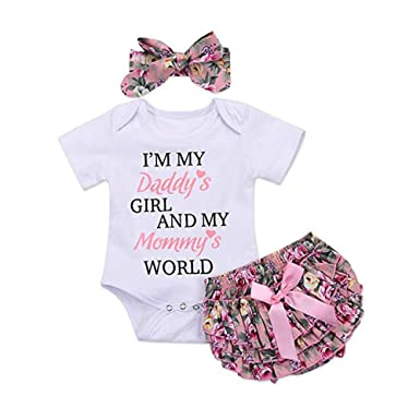 539442fea12 Amazon.com  Newborn Baby Girls I Am My Daddys Girl and My Mommys World  Romper Jumpsuit Bodysuit +Pants Shorts+Headband Outfit Set  Clothing