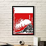 China Train Tower Steam Red Art Painting Picture Photo Wooden Rectangle Frame Home Wall Decor Gift