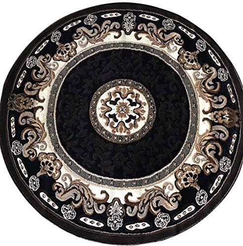 Kingdom Traditional Round Persian Area Rug Black Brown Beige Design D123 (4 Feet X 4 Feet) (And Area Rugs Black Beige Brown)