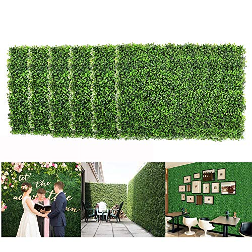12PCS Artificial Boxwood Privacy Hedge Panels 24 x 16″ Faux Boxwood Hedge Wall Panels Greenery Backdrop Grass Wall Square UV Protected Privacy Hedge Screen for Outdoor Indoor (Artificial Milan leaves)