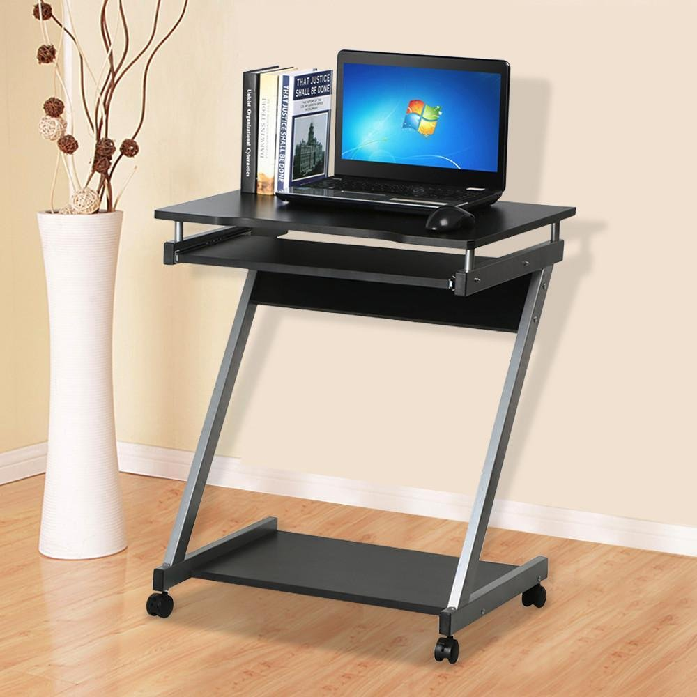 Pc Table For Small Spaces Vasagle Mobile Computer Desk On Wheels