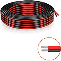 22 AWG Fil électrique - câble d'extension Cordon de câble 18 Pieds (5,5 m Rouge + 5,5 m Noir) basse tension DC Fil Hookup Stranded de cuivre pour bande de LED pilote automatique